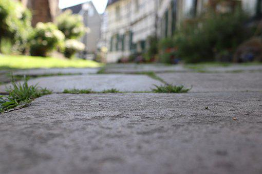 Road, Concrete, Grass, Pavement, Street, Weed