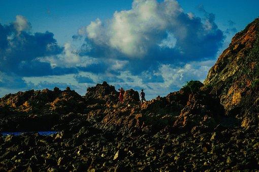 Cliff, Rocks, Reef, Sea, Ocean, People, Blue Sky