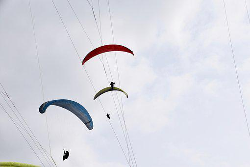 Paragliders, Sails, Fly, Wings Paragliding, Air, Wind