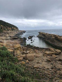 Rocks, Beach, Sea, Ocean, Clouds, Horizon, Nature