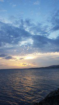 Mountain, Rocks, Lake, Sunset, Sunrise, Sky, Clouds