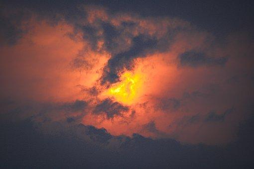 Sunset, Clouds, Sky, Sun, Dark Clouds, Dusk, Twilight