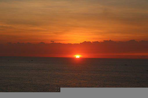 Sunrise, Sea, Horizon, Sun, Sunlight, Orange Sky, Dawn