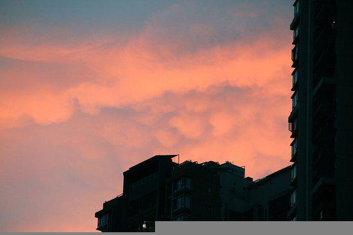 Buildings, Structure, Sunset, Clouds, Sky, Weather