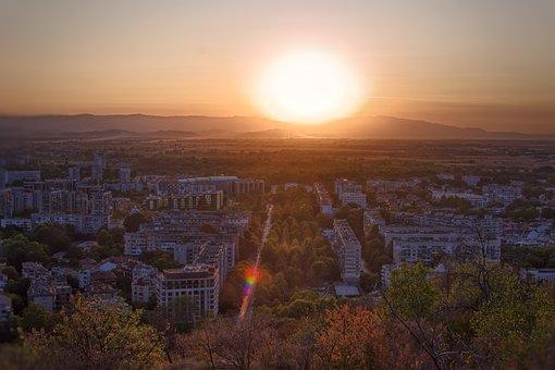 Buildings, Trees, Streets, Sunset, Aerial, Horizon
