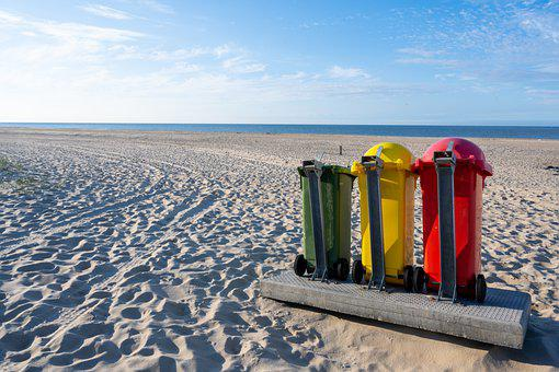 Waste Separation, Beach, Dustbin, Mülltonnen