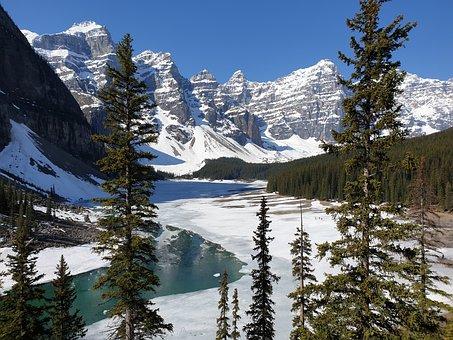 Mountains, Lake, Bergsee, Canada, Moraine Lake, Frozen