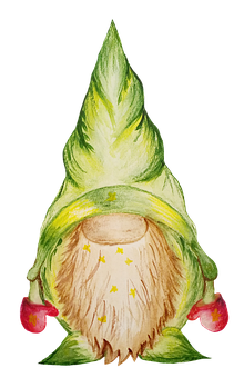 Spring, Gnome, Green, Figure, Watercolor, Easter