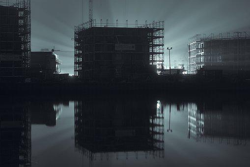 Port, Fog, Water, Industry, Building, Architecture