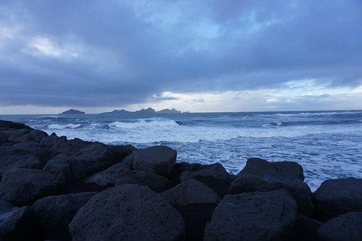 Ocean, Sea, Waves, Rocky Beach, Rocks, Clouds, Horizon