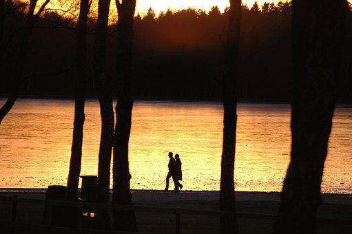 Lake, Sunset, Walk, Couple, Silhouettes, Park, Trees