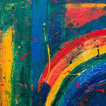 Rainbow, Paint, Wall, Splah, Splatter, Colorful