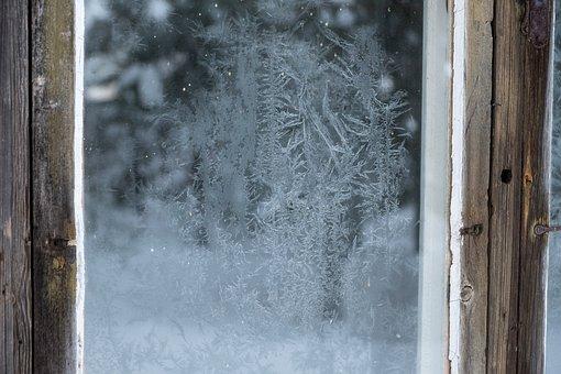 Window, Frost, Frozen, Ice, Crystal, Cabin, Texture