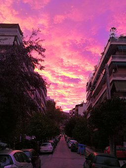 Sky, View, Morning, Sunrise, Greece, Athens, Town