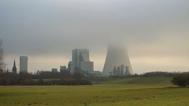 Winter, Coal Fired Power Plant, Cooling Tower, Industry