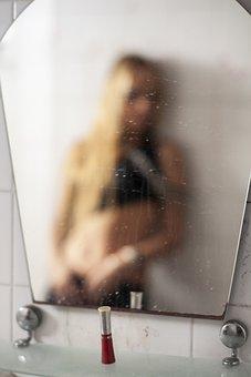 The Mirror, Portrait, Woman, Girl, Model, Lipstick