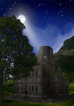 Ruin, Night, Architecture, Gothic, Hotel Rooms, Moon