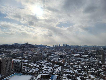China, Dalian, City, Snow