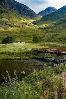 River, Bridge, Trees, Hills, Highlands