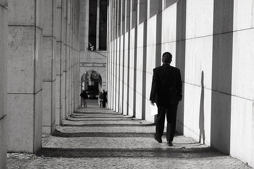Man, Sidewalk, Monochrome, Columns, Shadows