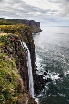 Waterfall, Cascade, Cliff, Rocks, Sea, Ocean, Kiltrock