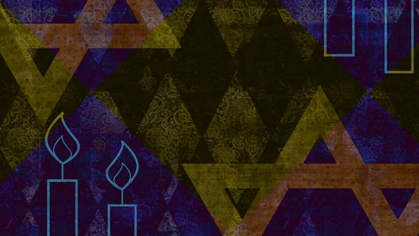 Star Of David, Shabbat Candles, Wallpaper, Geometric