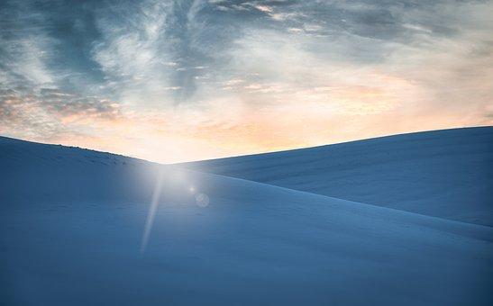 Mountains, Hills, Dunes, Sunset, Snow, Snowy, Winter