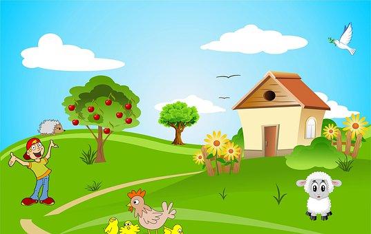 House, Village, Man, Happy, Animals, Chicken, Sheep