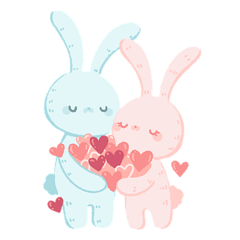 Rabbit, Couple, Love, Heart, Easter, Pink, Artwork