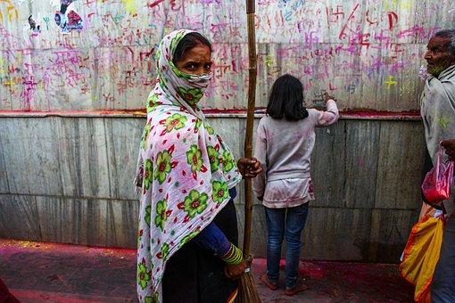 Woman, Hijab, Indian, Asian, People, Broom, Wall