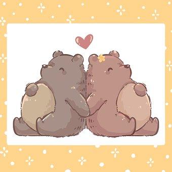 Bear, Cute, Couple, Yellow, Teddy, Sweet, Cartoon