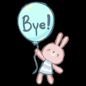 Rabbit, Bunny, Text, Goodbye, Balloon, Farewell, Fly