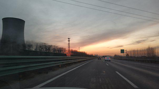 Jingha Expressway, Road, Sunset, Cars, Vehicles