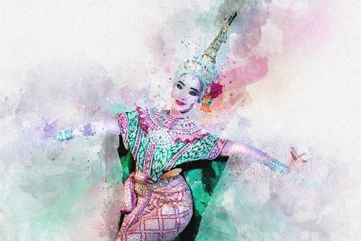 Dancer, Thai, Watercolor, Costume, Tradition, Culture