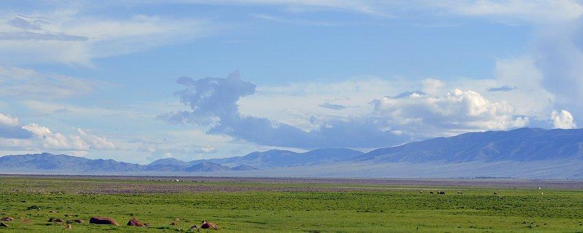 Field, Mountains, Panoramic, Mountain Range