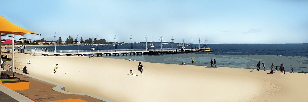 Beach, Beachgoers, Holiday, Foreshore, Sand, Shore