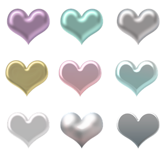 Hearts, Metallic, Rainbow, Pearls, Love, Valentine