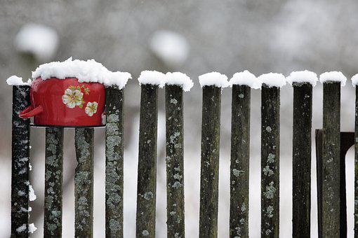 Pot, Wooden Fence, Snow, Ice, Fence