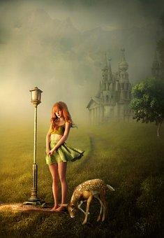 Fantasi, Gadis, Berdiri, Kijang, Lampu, Tiang Lampu
