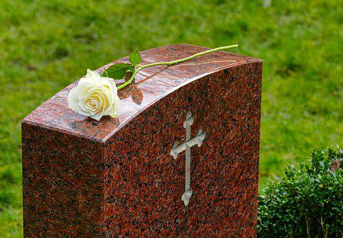 Mourning, Tombstone, White Rose And Cross