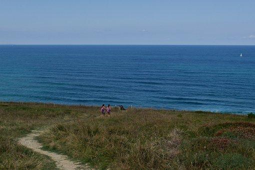 Coast, France, Normandy, Cliff, Landscape, Ocean