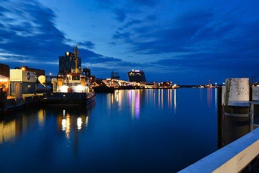 Port Of Kiel, Ships, Evening, Lights, Reflection, Bay