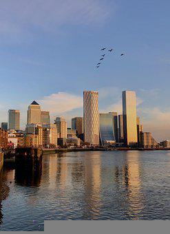 Canary Wharf, River, Buildings, Skyline, Skyscraper