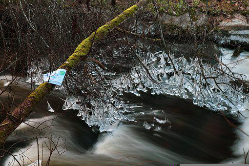 River, Nature, Icicles, Ice, Branches, Cold, Frozen