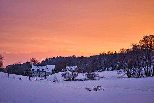 Sunset, Snow, Winter, Nature, Landscape, Cold, Sky
