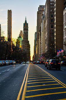 Road, Buildings, New York, Street, Pavement, Cars