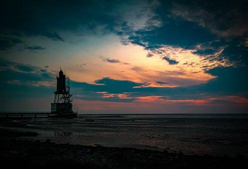 Dorum, Lighthouse, Beach, Sunset, Silhouette, Low Tide