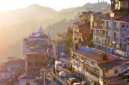 Shimla, City, Mountains, Sunset, Sunrise, Buildings