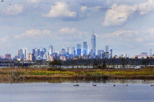 River, New York City, Skyline, Buildings, Towers