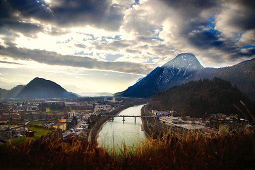 Town, River, Mountains, Panorama, Cloudy, Fog